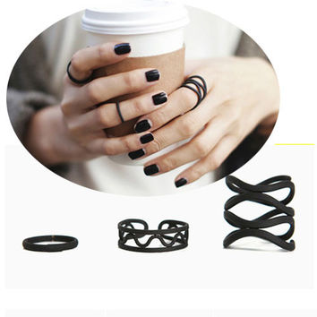 3Pcs/set Punk Retro Multilayer Black Metal Cross Ring