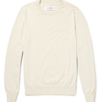 Maison Martin Margiela - Elbow Patch Knitted-Cotton Sweater | MR PORTER