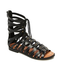 Lace-Up Cone Studded Gladiator Sandal