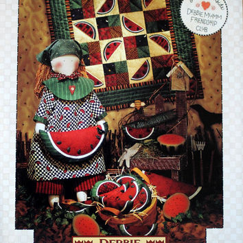 Quiltsy Destash Party, Watermelon Wendy by Debbie Mumm, PATTERN, Doll, Doll Quilt, Pillow