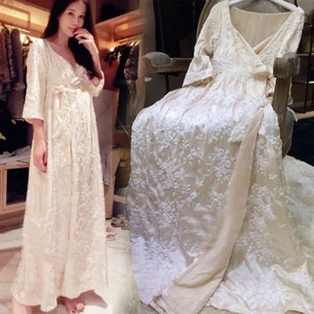 Womens Luxury Silk Long Nightgowns Noble Lounge For Women Autumn Winter Nightdress Home Dress For Sleep Lady Bathrobes Sleepwear