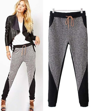 Pockets Elastic Waist Pencil Pants