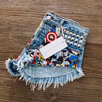 RWDZ x MARVEL Force Studded Shorts