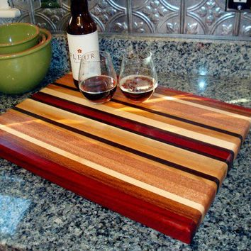 Handmade Extra Large Wood Cutting Board - The New Englander - Bloodwood & Lacewood