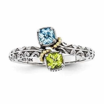 Gold Accented Sterling Silver Mother's Personalized Ring W/ 14k Two Birthstones Antique Finish