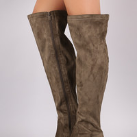 Suede Block Heeled Over-The-Knee Boots