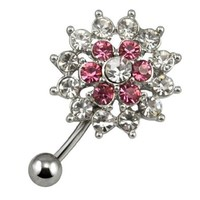 World Pride 316L Surgical Steel Body Piercing Jewelry Two Color Rhinestone Flower Navel Ring Belly Button Bar