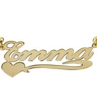 Personalized Name Necklace Sterling Silver w/ 24K Gold Overlay