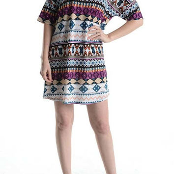 Multicolored Short Sleeve A-Line Tunic Dress
