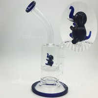 smal funny Dolphin animal Green dab oil rigs Glass Water Pipes  heady Honey comb Layer Filter Bong Diffuser Percolato