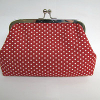 "Red polka dots metal frame clutch, white dots on red, kiss lock purse, 6"" frame clutch"