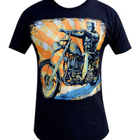Lowbrow Eerie Rider Frankenstein Mens T-Shirt