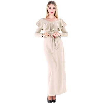 High Waist Long Plain Dress with Waist Belt