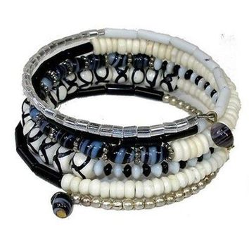 Five Turn Black & White Bead and Bone Bracelet Fair Trade India - CFM