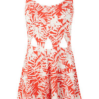 Petites Red Print Playsuit - Cuban Couture - Clothing