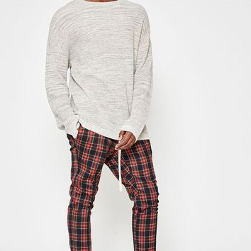 LMFON PacSun Drop Skinny Tartan Plaid Jogger Pants