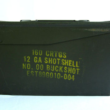 Gun Cartridge Storage Ammo Box Metal Stash Steel Industrial Man Cave Rustic Military Gift Ideas For Him