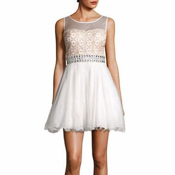 My Michelle® Sleeveless Illusion-Neck Party Dress
