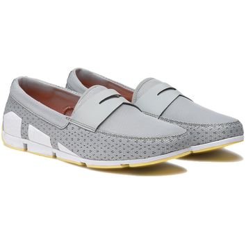 Men's Breeze Penny Loafer in Light Gray, White & Faded Lemon by SWIMS
