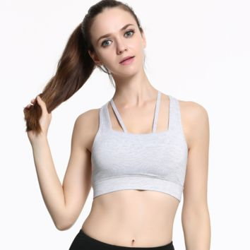Back Cutout Strappy Detailing Sports Bra