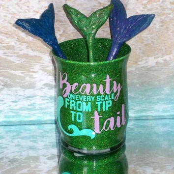 Beauty On Every Scale Mermaid Makeup Brush Holder - YOU CUSTOMIZE!