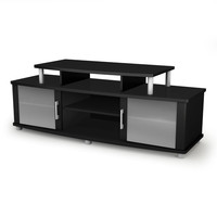 Modern TV Stand In Black Finish With Glass Doors - Fits Up To 50 Inch TVs