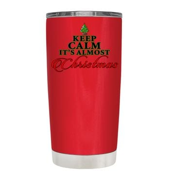 TREK Keep Calm Its Almost Christmas on Red 20 oz Tumbler Cup