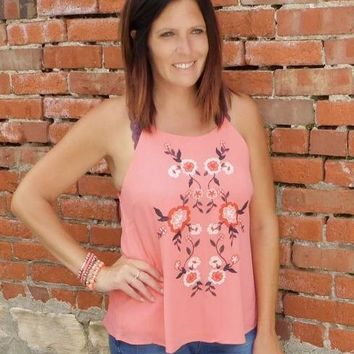 Coral Embroidered Tank