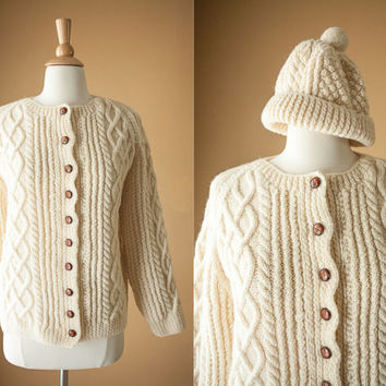 Vintage Hand Knit Sweater with Matching Hat | Cardigan Sweater Coat Ski Wool Ivory 70s Sweater Vintage Jumper Cable Knit Fisherman Sweater