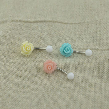 belly button ring baby blue rose navel ring cute belly button piercing,friendship gift