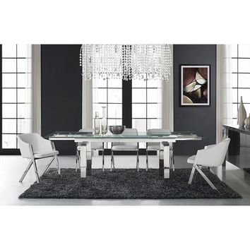 Casabianca Cloud Collection Stainless Steel Extendable CB-D2048-SS Dining Table