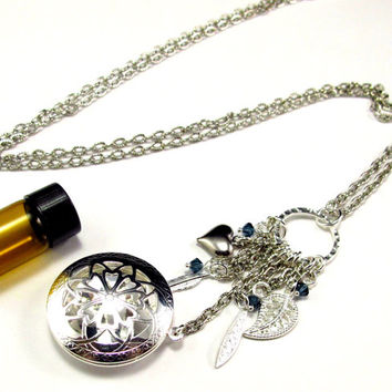 Aromatherapy Necklace - Beautiful Filigree Locket with Charms and Crystals