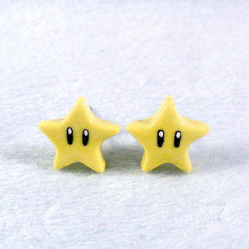 Super Mario Invincibility Star Post Stud Earrings, Power Up, Cute, Kawaii :D