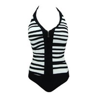 Beach Joy Women's Striped One Piece Zipper Bathing Suit Swimsuit