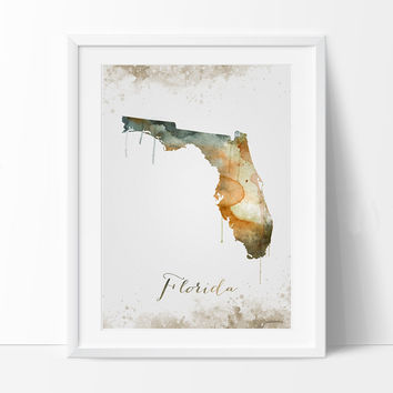 FLORIDA Map, Map of florida, Poster california, Painted map art, watercolor, Poster Print, Wall Art, Home Decor, Decoration, artwork (290)