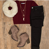 Clair Knit Top - Burgundy
