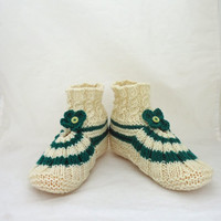 Women Slippers, Women Home Socks, Slippers in White and Green, Knitted Women Slippers/Socks, Winter Women socks