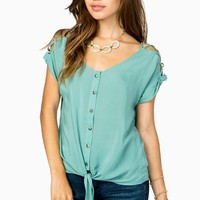 Tie Front Cut Out Sleeve Challis Tee