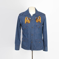 Vintage 70s HIPPIE JACKET / 1970s Embroidered Denim Buffalo Shirt Jacket M