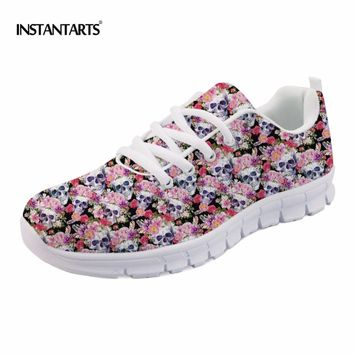 Women Spring Flat Shoes Fashion Radiologist's Skulls Sneakers Casual Female Flats Lace-up Punk Shoes Woman