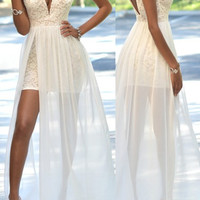 A-Line V-Neck White Prom Dresses,Evening Dresses