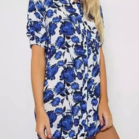 Blue Floral Short Sleeve Shirt Collar Blouse
