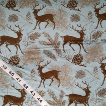 Wildlife Flannel fabric with deer elk pinecone trees cotton print quilt quilting sewing material to sew by the yard crafts crafting project