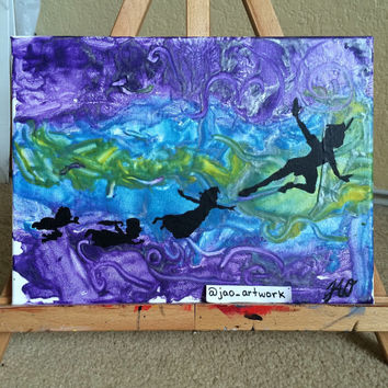 Peter Pan Disney Mixed Media Original Painting 8x10 Canvas Melted Crayon Art Acrylic Disney Wall Art
