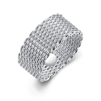 Sterling Silver Plated Woven Mesh Ring 925 Sterling Silver Unique Casual Rings