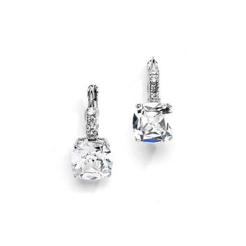5CT Cushion Cut Russian Lab Diamond Dangle Earrings