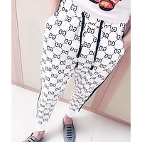 GUCCI Trending Women Men Double G Letter Print Sport Pants Trousers Sweatpants White