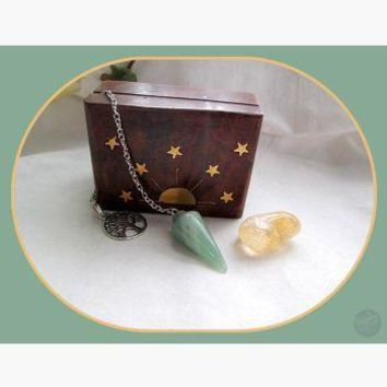 """Growth, Success & Renewal"" Green Aventurine Pendulum & Citrine Celestial Set"