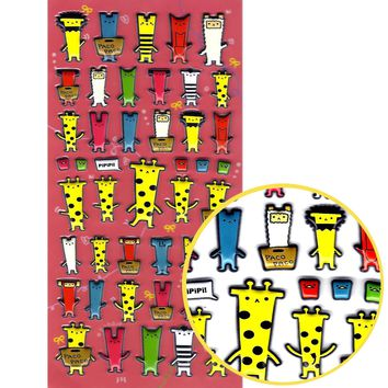 Cartoon Giraffe Elephant Animal Blockhead Shaped Puffy Stickers for Scrapbooking