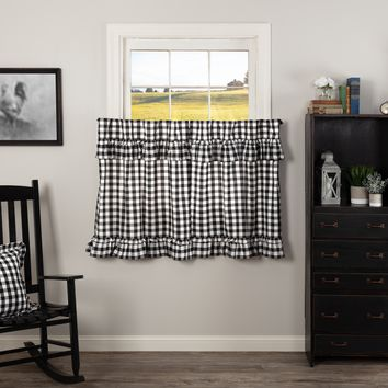Annie Black Buffalo Check Ruffled Tier Curtains 36""